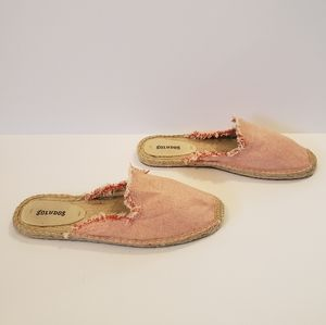 Soludos red frayed mule slip on espadrille flats